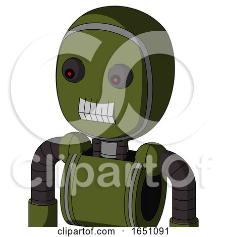 Army-Green Automaton with Bubble Head and Teeth Mouth and Red Eyed by Leo Blanchette