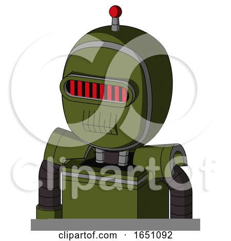 Army-Green Automaton with Bubble Head and Toothy Mouth and Visor Eye and Single Led Antenna by Leo Blanchette