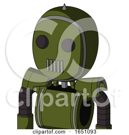 Army-Green Automaton with Bubble Head and Vent Mouth and Two Eyes and Spike Tip by Leo Blanchette