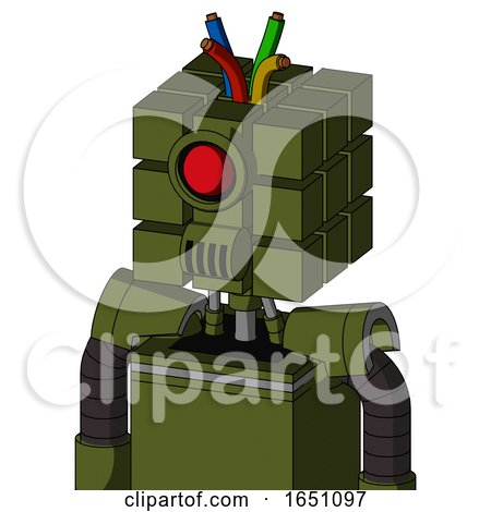 Army-Green Automaton with Cube Head and Speakers Mouth and Cyclops Eye and Wire Hair by Leo Blanchette