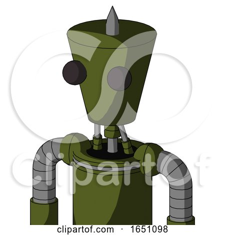 Army-Green Automaton with Cylinder-Conic Head and Two Eyes and Spike Tip by Leo Blanchette