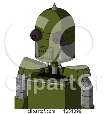 Army-Green Automaton with Dome Head and Speakers Mouth and Red Eyed and Spike Tip by Leo Blanchette