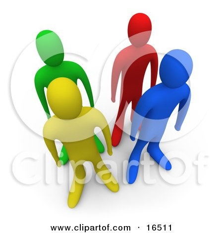 Four Different Colored And Diverse People Standing In Lines Together Clipart Illustration Graphic by 3poD