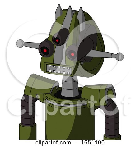 Army-Green Automaton with Droid Head and Square Mouth and Three-Eyed and Three Spiked by Leo Blanchette