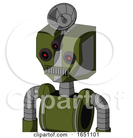 Army-Green Automaton with Mechanical Head and Square Mouth and Three-Eyed and Radar Dish Hat by Leo Blanchette