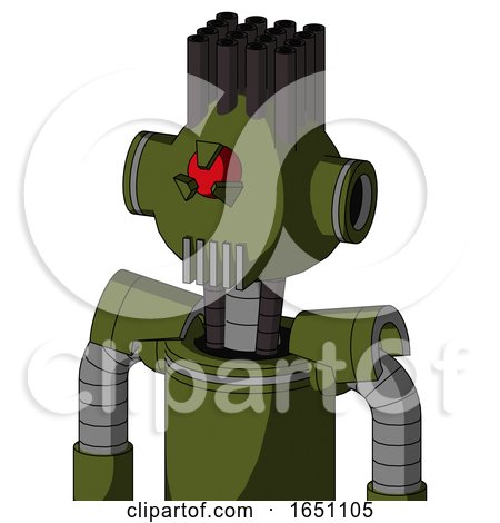 Army-Green Automaton with Rounded Head and Vent Mouth and Angry Cyclops Eye and Pipe Hair by Leo Blanchette
