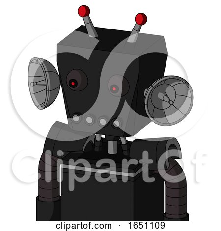 Black Automaton with Box Head and Pipes Mouth and Red Eyed and Double Led Antenna by Leo Blanchette