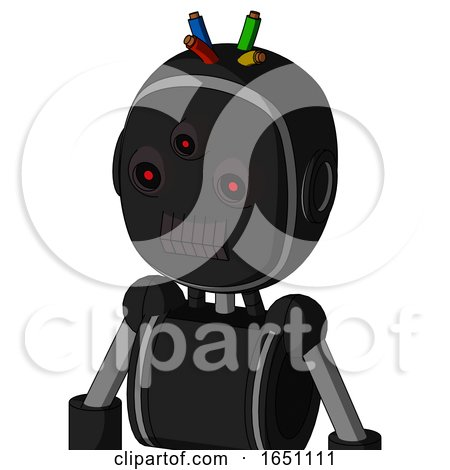 Black Automaton with Bubble Head and Dark Tooth Mouth and Three-Eyed and Wire Hair by Leo Blanchette