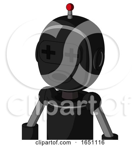 Black Automaton with Bubble Head and Round Mouth and Plus Sign Eyes and Single Led Antenna by Leo Blanchette
