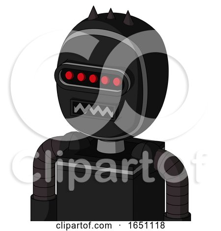 Black Automaton with Bubble Head and Square Mouth and Visor Eye and Three Dark Spikes by Leo Blanchette