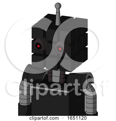 Black Automaton with Cube Head and Black Glowing Red Eyes and Single Antenna by Leo Blanchette
