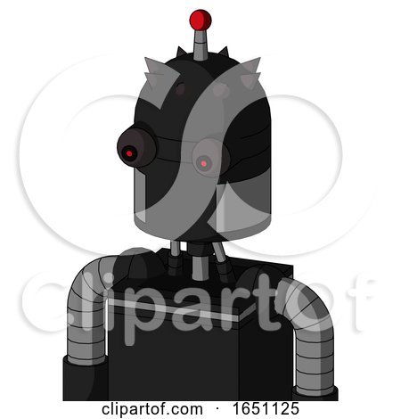 Black Automaton with Dome Head and Red Eyed and Single Led Antenna by Leo Blanchette