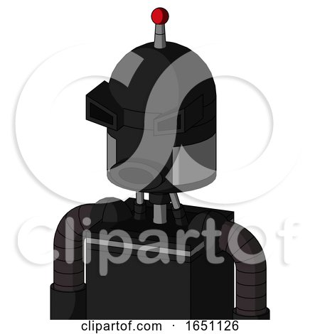 Black Automaton with Dome Head and Round Mouth and Angry Eyes and Single Led Antenna by Leo Blanchette