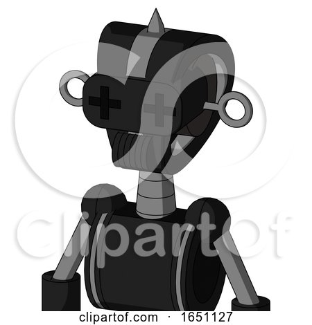 Black Automaton with Droid Head and Speakers Mouth and Plus Sign Eyes and Spike Tip by Leo Blanchette