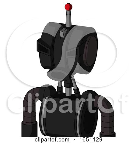 Black Automaton with Multi-Toroid Head and Round Mouth and Angry Eyes and Single Led Antenna by Leo Blanchette