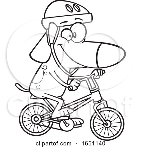 Cartoon Black and White Dog Riding a Bike by toonaday