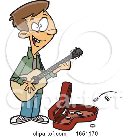 Cartoon Teen Boy Playing a Guitar on the Street by toonaday
