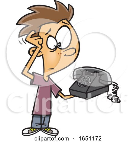Cartoon Boy Scratching His Head and Looking at an Old Fashioned Telephone by toonaday