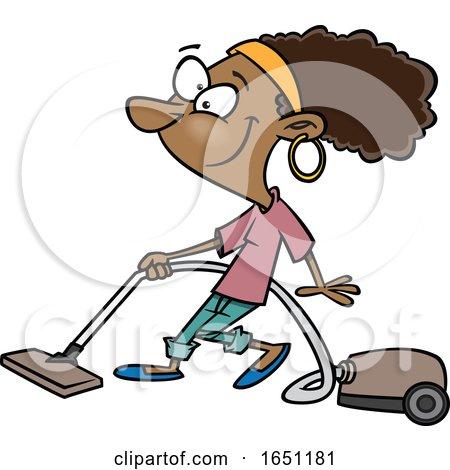 Cartoon Woman Vacuuming by toonaday
