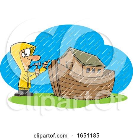 Cartoon Man Building an Ark in the Rain by toonaday