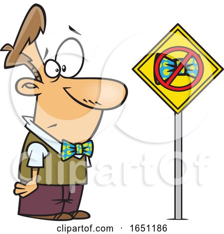 Cartoon Man Looking at a Bowtie Ban Sign by toonaday