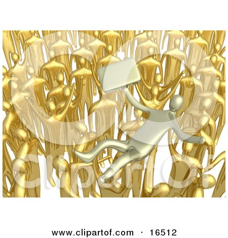 Crowd Of Gold Businessmen Lifting A Man Up High, Symbolizing Celebration, Praise And Success  Posters, Art Prints