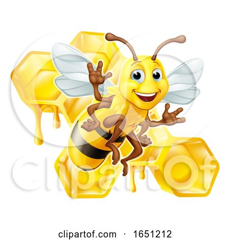 Bumble Bee Honey Comb Bumblebee Hive Cartoon by AtStockIllustration