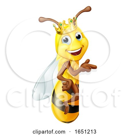 Queen Honey Bumble Bee Bumblebee in Crown Cartoon by AtStockIllustration