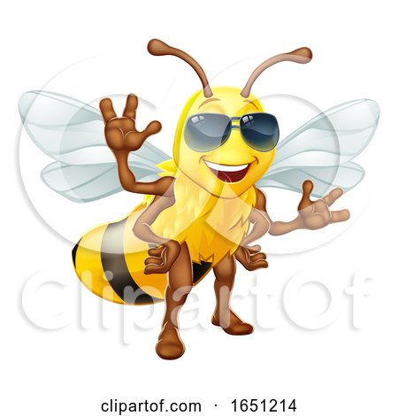 Cool Honey Bumble Bee in Sunglasses Cartoon by AtStockIllustration