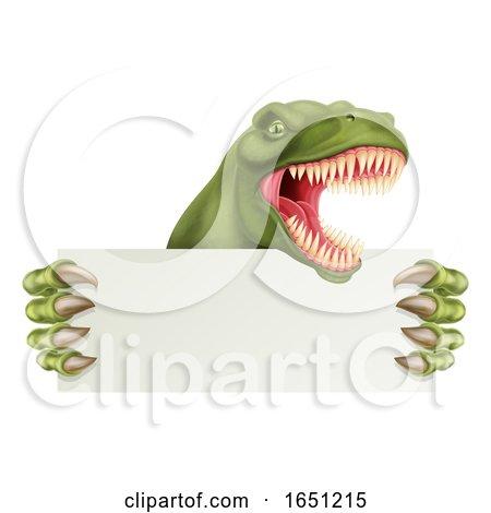 Dinosaur T Rex Holding Sign Cartoon by AtStockIllustration