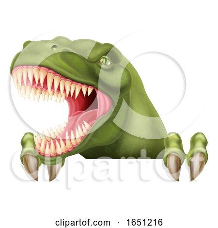 Dinosaur T Rex Peeking over Sign Cartoon by AtStockIllustration