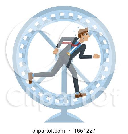 Business Man Hamster Wheel Stress Running Concept by AtStockIllustration