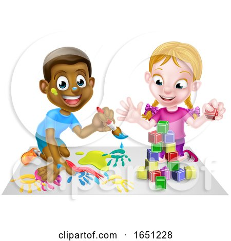 Boy and Girl Playing with Paints and Blocks by AtStockIllustration