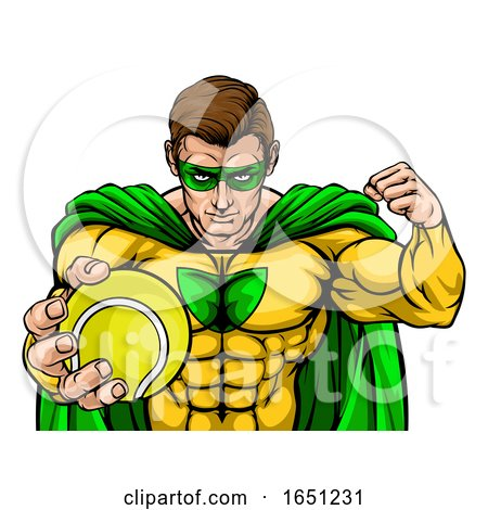 Superhero Holding Tennis Ball Sports Mascot by AtStockIllustration