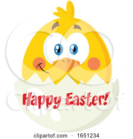 Hatching Chick in a Happy Easter Egg Shell by Hit Toon