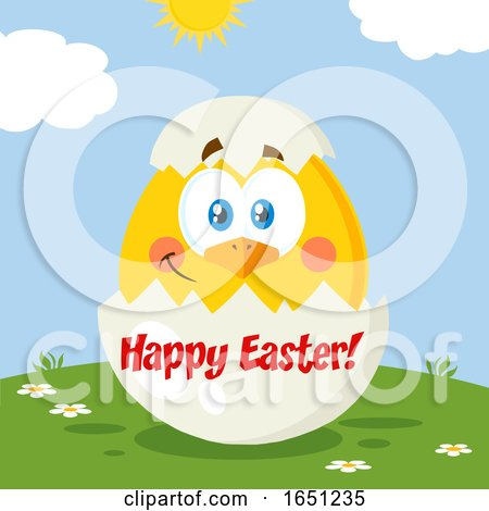 Hatching Chick in a Happy Easter Egg Shell Posters, Art Prints