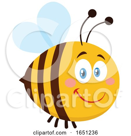 Cartoon Chubby Bee with Blue Wings by Hit Toon