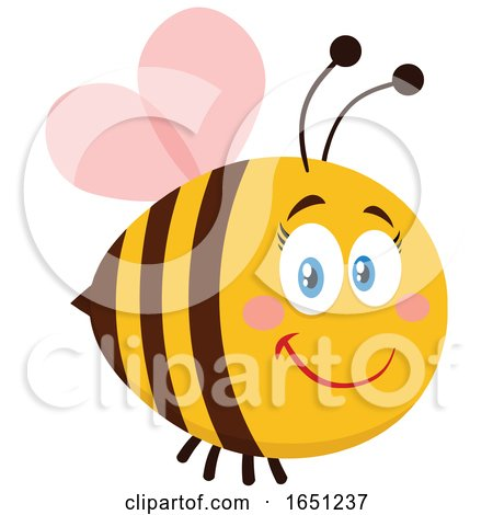 Cartoon Chubby Female Bee with Pink Wings by Hit Toon