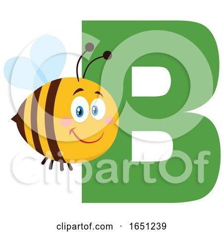 Cartoon Chubby Bee with the Letter B by Hit Toon