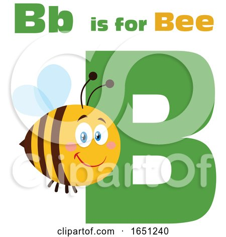 Cartoon B Is for Bee with a Happy Bee by Hit Toon