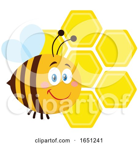Cartoon Chubby Bee with Honeycombs by Hit Toon