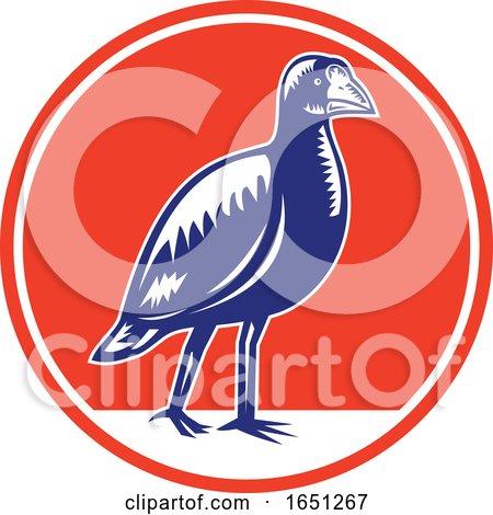 Retro Woodcut Takahe Bird by patrimonio