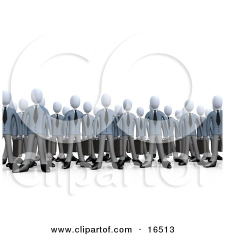 Crowd Of Businessmen Standing Together, Symbolizing Teamwork Or Cloning  Posters, Art Prints