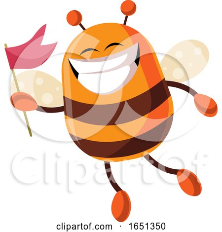 Chubby Bee Mascot Holding a Flag by Morphart Creations