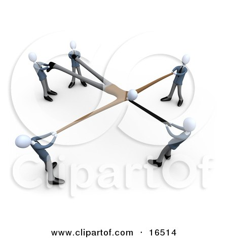 Circle Of Businesmen Pulling On Parts Of A Customer And Stretching Him Out While Competing For Him Clipart Illustration Graphic by 3poD