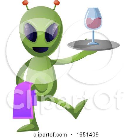 Green Extraterrestrial Alien Serving Wine by Morphart Creations