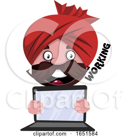 Man Wearing a Turban Holding a Laptop by Morphart Creations