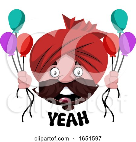 Man Wearing a Turban and Celebrating by Morphart Creations