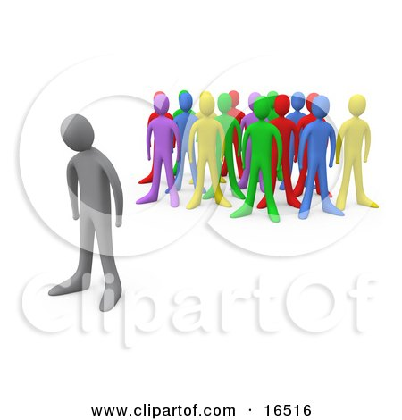 Sad Gray Person Standing Alone Near A Crowd Of Different Colored People, Symbolizing Depression, Bullying, Standing Out From The Crowd, Etc Clipart Illustration Graphic by 3poD