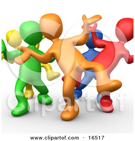 Five Different Colored And Diverse People Dancing And Having Fun At A Party Clipart Illustration Graphic by 3poD